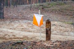 orienteering Prisma e composter do ponto de controle para orienteering na floresta do outono imagens de stock