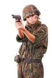 Orienter militaire de femme images stock