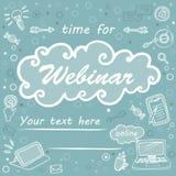 Orientering affisch, tid för webinar som e-lär royaltyfri illustrationer