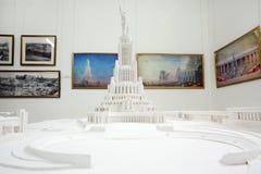 Orientering av slotten av sovjet - unrealized storstilad Stalinist konstruktion projekterar fotografering för bildbyråer
