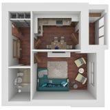 orientering 3D av lägenheten Arkivbilder