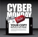 Orientering för Cybermåndag annons med den smartphonepilbågen och etiketten Royaltyfria Foton