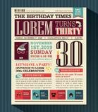 Orientering för design för kort för parti för lycklig födelsedag i tidningsstil Royaltyfri Foto