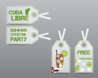 Orientering för för sommarcocktailpartyklistermärkear och etiketter royaltyfri illustrationer