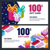 Orientering för gåvakort, kupong-, certifikat- eller för kupongvektordesign Rabattbanermall för feriehälsningar stock illustrationer