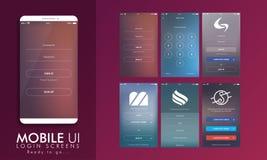 Orientering för mall för inloggningsskärm UI, UX och GUI- Fotografering för Bildbyråer