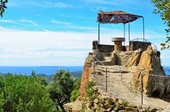Orientierungstabelle in Bormes-les Mimosen, Provence, Frankreich Stockfotografie