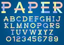 Origâmi, alfabeto de papel colorido e números com sombra ilustração do vetor