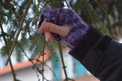 Origâmi de voo do pássaro do papel guardado por uma mão da mulher no close up do inverno foto de stock