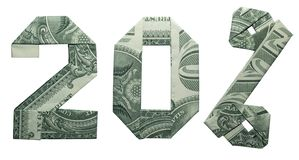 Origâmi do dinheiro sinal de uma venda de 20 por cento fotos de stock