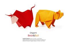 Origâmi do urso e do touro imagens de stock