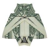 Origâmi grande OWL Bird Folded sábio do dinheiro com um dólar real Bill White Background fotos de stock