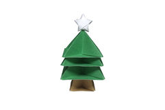 Origâmi na forma da árvore de Natal com a estrela na parte superior Imagem de Stock
