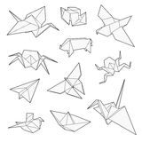 Origami传染媒介集合,起重机,鸟,小船,纸飞机 图库摄影