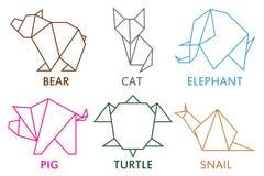 Origami动物汇集 套线被折叠的纸艺术的几何形状  商标的模板 也corel凹道例证向量 向量例证