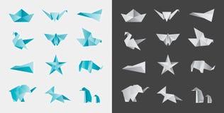 Origami和被折叠的纸装饰品传染媒介集合 免版税库存照片
