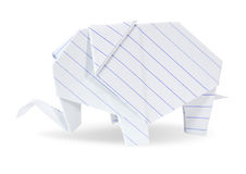 Origami大象白色回收纸张 免版税图库摄影