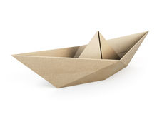 Origami小船回收在白色背景的纸 库存例证