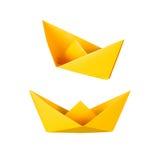 Origami小船或纸小船 免版税库存图片