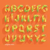 Origami橙色平的字体 传染媒介字母表集合 拉丁字母 免版税库存图片