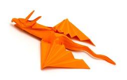 origami橙色龙照片在白色背景隔绝的 免版税图库摄影