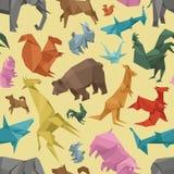 Origami狂放的纸动物创造性的装饰传染媒介例证无缝的样式 向量例证