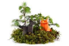 Origami狼和狐狸 图库摄影