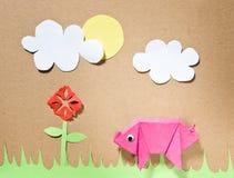 Origami猪 免版税库存照片