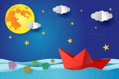 Origami纸小船在蓝色海海洋的晚上 与满月的超现实的海景与云彩和星,纸艺术 库存例证
