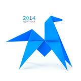 Origami蓝色马 免版税图库摄影