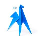 Origami蓝色马 免版税库存照片