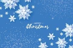Origami降雪 圣诞快乐贺卡 白皮书裁减雪剥落 新年好 冬天雪花 向量例证