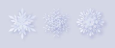 Origami雪花 3D与一个阴影的雪花贺卡您的设计的新年和圣诞节 库存照片