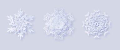 Origami雪花 3D与一个阴影的雪花贺卡您的设计的新年和圣诞节 库存图片