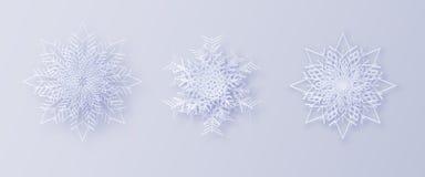 Origami雪花 3D与一个阴影的雪花贺卡您的设计的新年和圣诞节 免版税库存照片