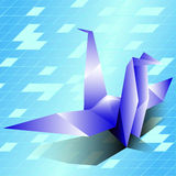 Origami鸟导航背景蓝天 库存照片