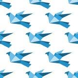 Origami鸽子和鸠无缝的样式 免版税库存图片