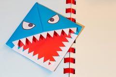 Origami,鲨鱼,书签 免版税库存照片