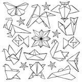 Origami übergibt gezogenen Gekritzelsatz Lizenzfreies Stockfoto