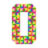 Origami αριθμός 0 μηά ρεαλιστική τρισδιάστατη επίδραση origami που απομονώνεται Αριθμός του αλφάβητου, ψηφίο ελεύθερη απεικόνιση δικαιώματος