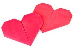 Origami Валентайн пар Стоковая Фотография