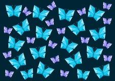 Origami много бабочек которое летает Стоковое Изображение RF