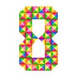 Origami 8 Реалистическое изолированное влияние origami 3D Диаграмма алфавита, числа иллюстрация вектора