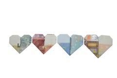Origami сердца бумажных денег евро Стоковая Фотография
