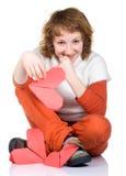 origami удерживания сердца девушки Стоковые Фото