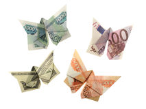 Origami蝴蝶欧元,美元,卢布 免版税库存照片
