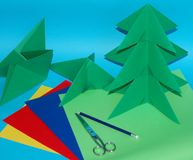 Origami. Christmas tree with paper coloured Royalty Free Stock Photography