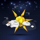 Origami太阳和云彩设计 库存图片