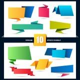 抽象origami讲话泡影集合,传染媒介背景 免版税库存图片