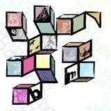 Origami. A grungy modern abstract art collage of cubes framing silhouettes Stock Photos